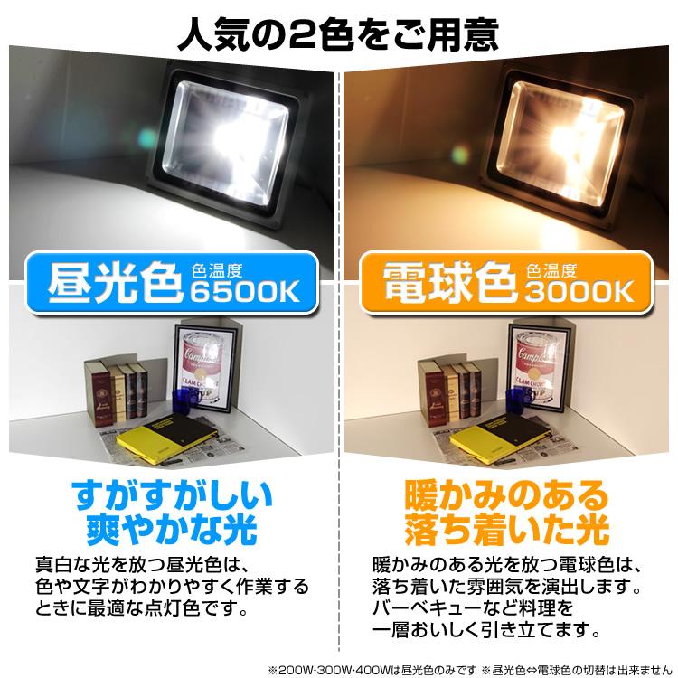 ウェイモールのLED投光器 2種類の発光色について