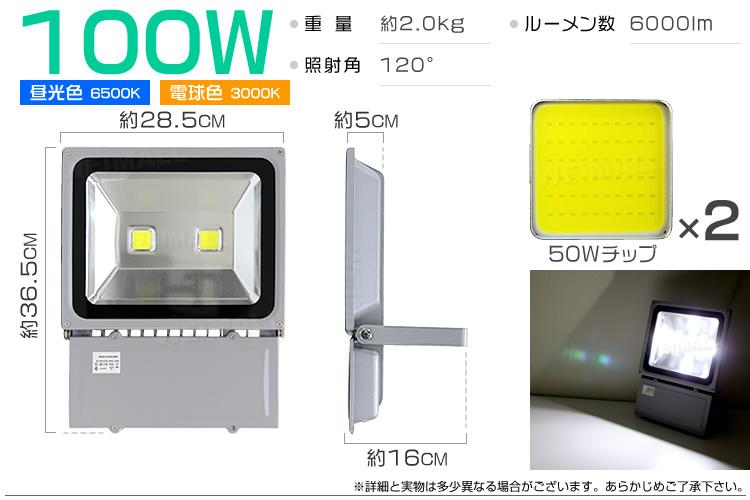 ウェイモール LED投光器100W 仕様