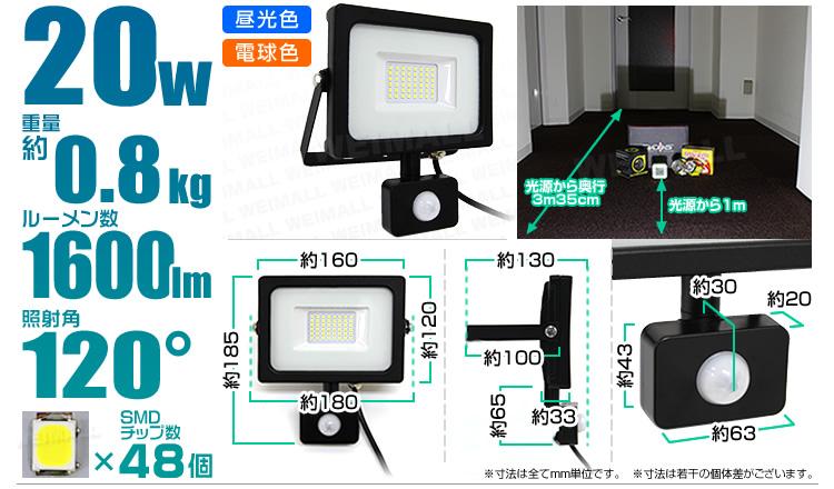 ウェイモール 人感センサー付LED投光器20W 仕様と点灯テスト結果
