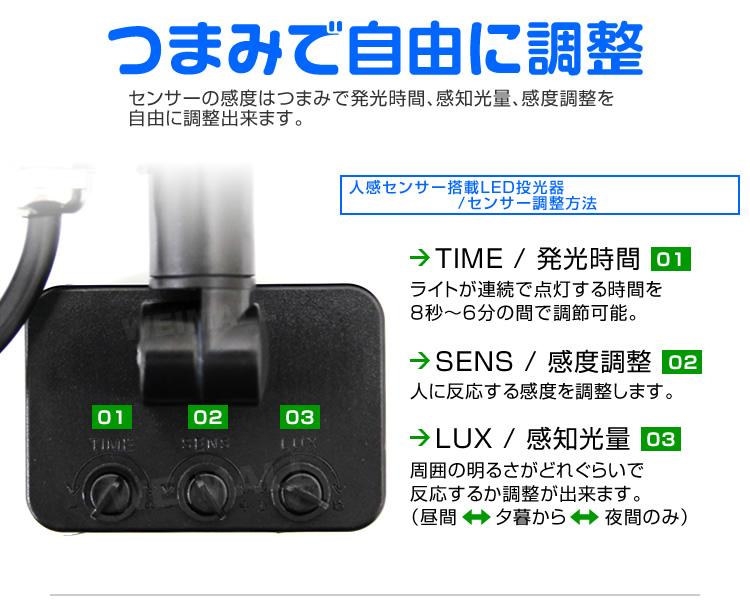 センサーの感度はつまみで自由に調整できます