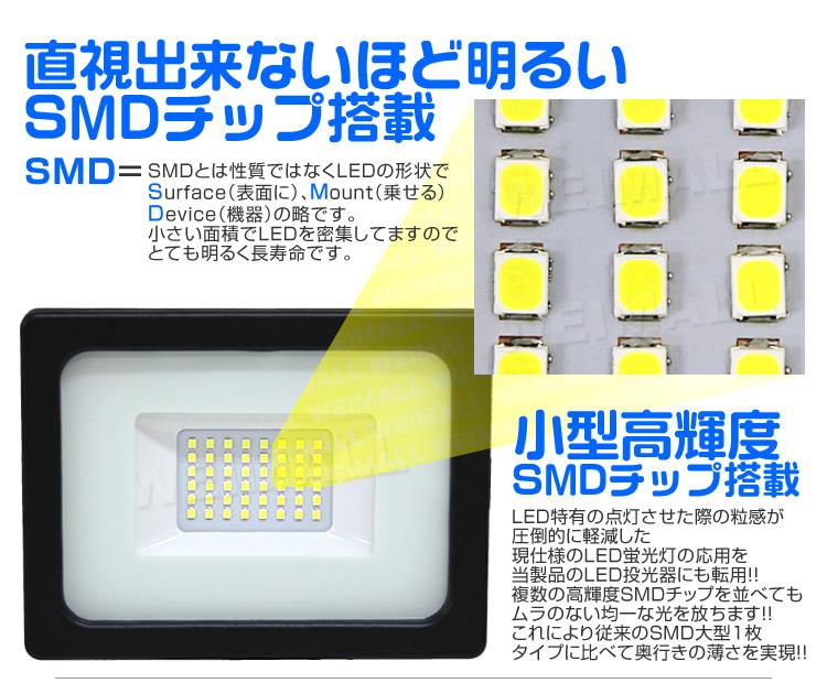 ウェイモール 人感センサー付LED投光器 SMDチップについて